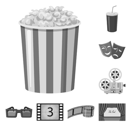 Isolated object of cinematography and studio sign. Collection of cinematography and filming stock symbol for web. Ilustração