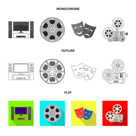 Isolated object of television and filming icon. Set of television and viewing stock vector illustration.