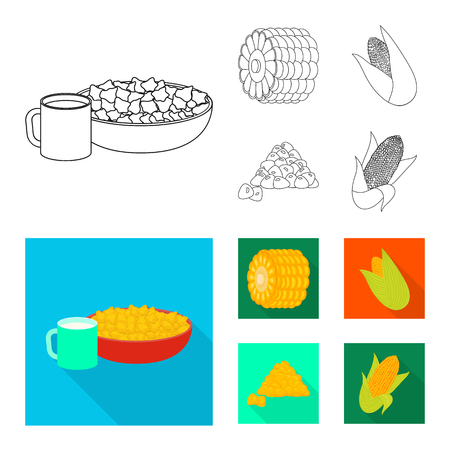 Isolated object of cornfield and vegetable icon. Set of cornfield and vegetarian stock vector illustration.