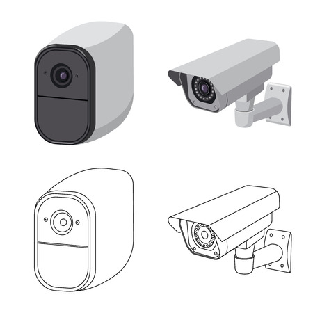 Isolated object of cctv and camera symbol. Collection of cctv and system stock vector illustration. Vector Illustration