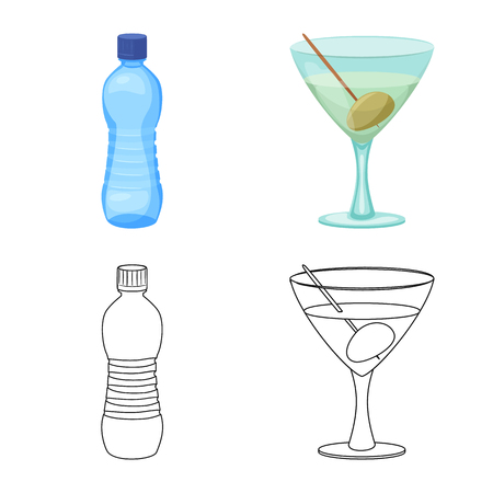 Isolated object of drink and bar logo. Set of drink and party vector icon for stock.