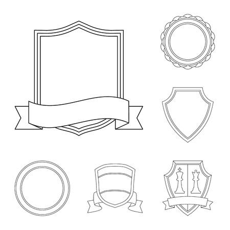 Vector illustration of emblem and badge symbol. Set of emblem and sticker stock symbol for web. Stock Illustratie