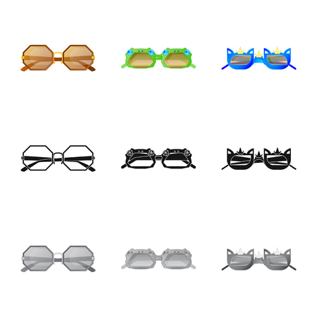 Isolated object of glasses and sunglasses logo. Collection of glasses and accessory stock symbol for web. Ilustração