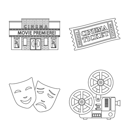 Vector design of cinematography and studio icon. Set of cinematography and entertainment stock symbol for web.