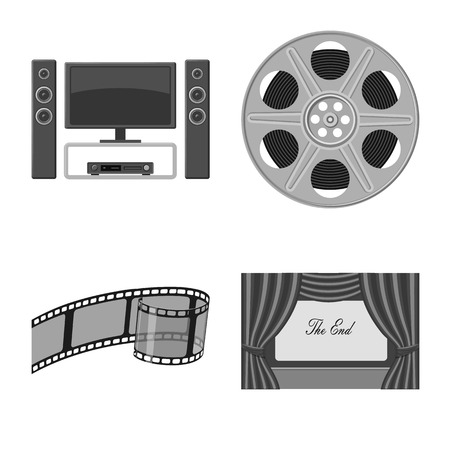 Vector design of cinematography and studio icon. Set of cinematography and filming vector icon for stock. Illustration