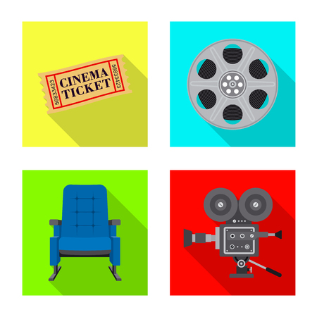 Vector illustration of television and filming icon. Collection of television and viewing stock symbol for web.
