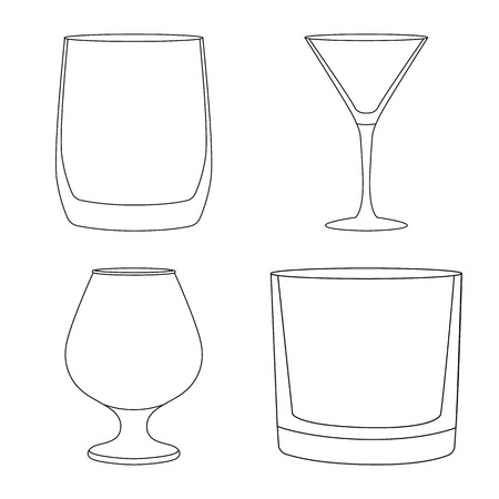 Vector illustration of dishes and container logo. Set of dishes and glassware stock vector illustration.
