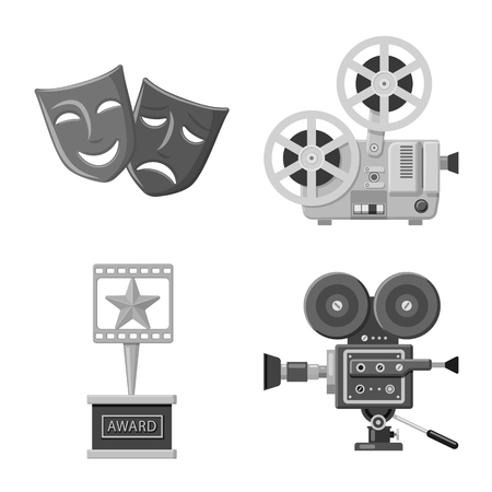 Vector illustration of cinematography and studio logo. Set of cinematography and filming stock vector illustration.