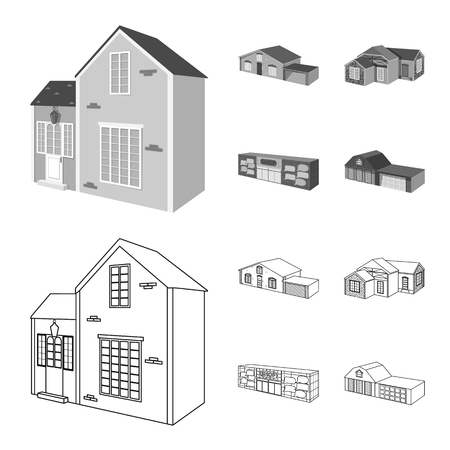 Isolated object of facade and housing sign. Set of facade and infrastructure stock symbol for web.