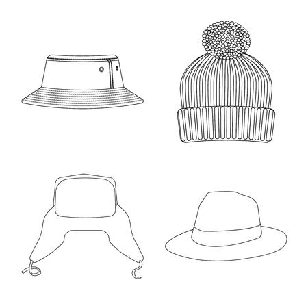 Vector illustration of headgear and cap sign. Set of headgear and accessory vector icon for stock. Stock Illustratie