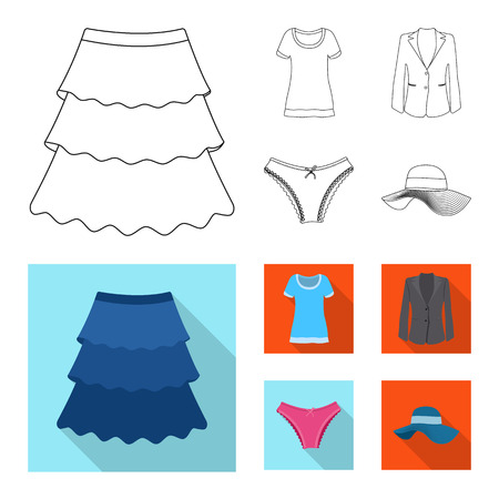 Isolated object of woman and clothing symbol. Collection of woman and wear stock symbol for web.