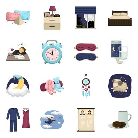 Vektor-Illustration von Träumen und Nachtsymbol. Set von Träumen und Schlafzimmer-Aktiensymbol für das Web.