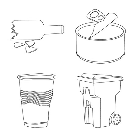 Isolated object of garbage and ecology icon. Set of garbage and recycling vector icon for stock.