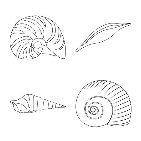 Vector illustration of exotic and seafood  sign. Collection of exotic and aquatic vector icon for stock. Ilustração