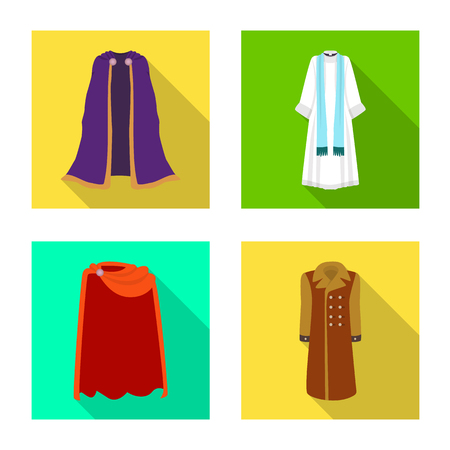 Isolated object of material and clothing icon. Set of material and garment stock symbol for web.