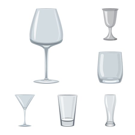 Isolated object of dishes and container sign. Set of dishes and glassware vector icon for stock.