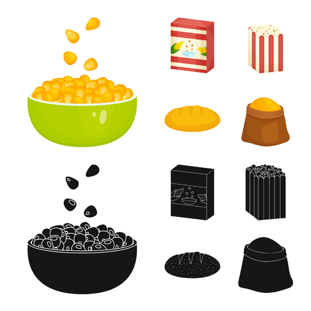 Illustration vectorielle de signe de champ de maïs et de légumes. Collection de champ de maïs et icône vectorielle végétarienne pour le stock.