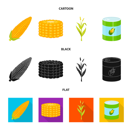 Isolated object of cornfield and vegetable logo. Collection of cornfield and vegetarian vector icon for stock.