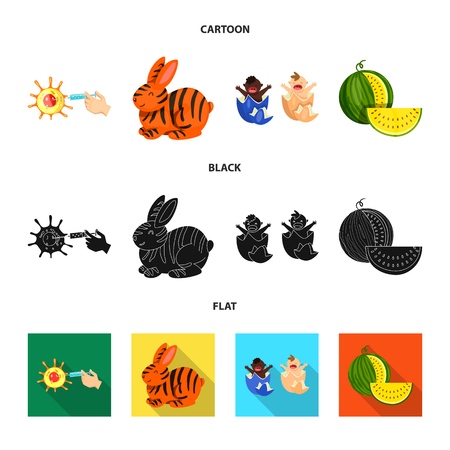 Vector design of test and synthetic symbol. Set of test and laboratory stock vector illustration. 矢量图像