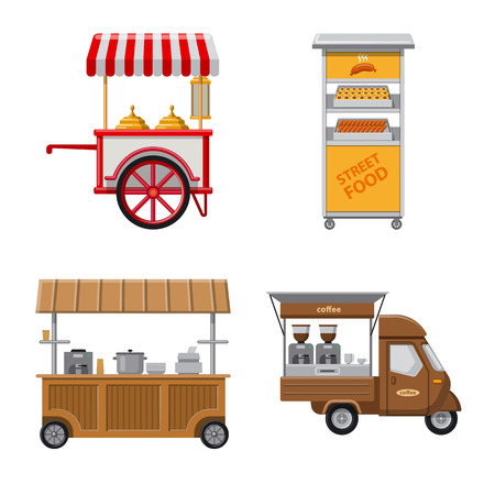 Vector illustration of market and exterior icon. Collection of market and food stock symbol for web. 向量圖像