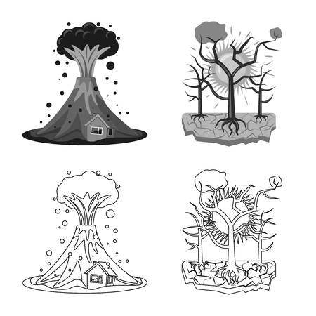 Vector illustration of natural and disaster symbol. Set of natural and risk stock vector illustration.
