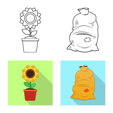 Vector design of farm and agriculture. Set of farm and plant vector icon for stock.