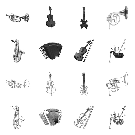 Vector illustration of music and tune icon. Set of music and tool stock symbol for web. Çizim
