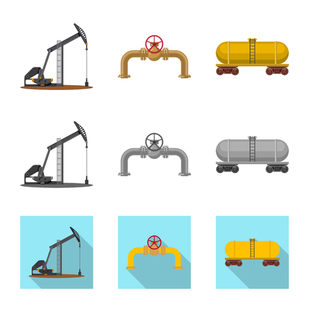 Vector illustration of oil and gas. Collection of oil and petrol stock vector illustration. Illustration