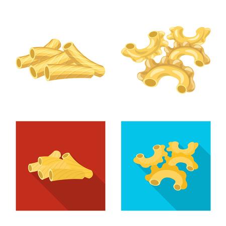 Conception de vecteur de signe de pâtes et de glucides. Ensemble d'illustration vectorielle stock de pâtes et macaroni.