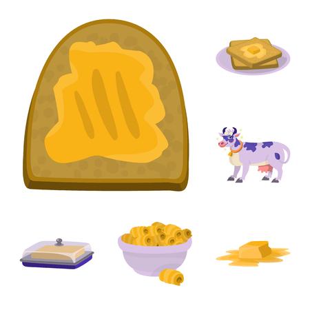 Oggetto isolato del simbolo di cibo e latticini. Insieme dell'icona di vettore di cibo e colesterolo per stock. Vettoriali
