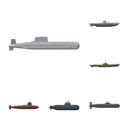 Isolated object of boat and navy icon. Set of boat and deep   vector icon for stock.