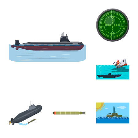 Vector illustration of boat and navy. Set of boat and deep   stock vector illustration. 일러스트