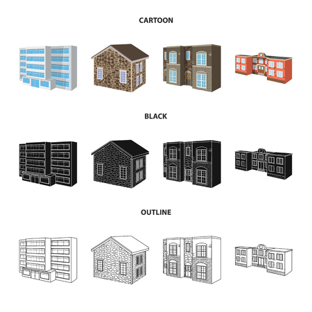 Vector illustration of facade and housing icon. Set of facade and infrastructure vector icon for stock.