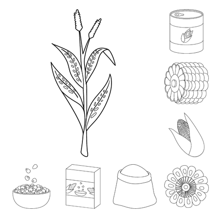 Vector design of farm and crop symbol. Set of farm and nutrition vector icon for stock.