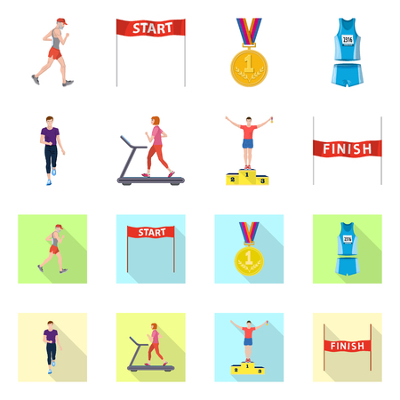 Vector design of sport  and winner sign. Collection of sport  and fitness  stock symbol for web.