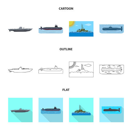 Vector illustration of war  and ship icon. Set of war  and fleet stock symbol for web. Illustration