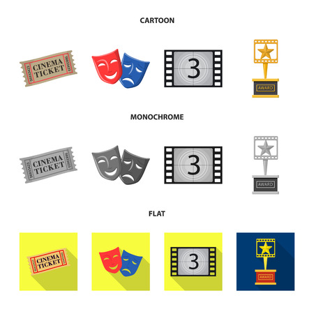 Vector design of television and filming sign. Collection of television and viewing vector icon for stock.  イラスト・ベクター素材