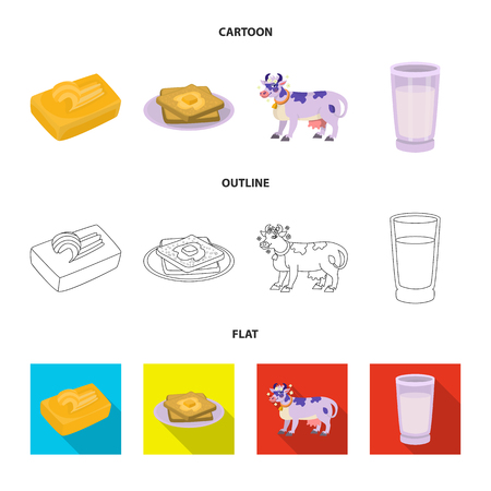 Vector illustration of creamy and product. Collection of creamy and farm stock symbol for web. Vettoriali