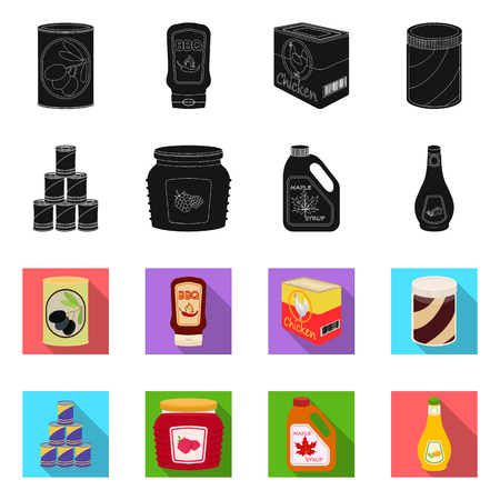 Vector illustration of can and food. Collection of can and package stock symbol for web. Ilustrace
