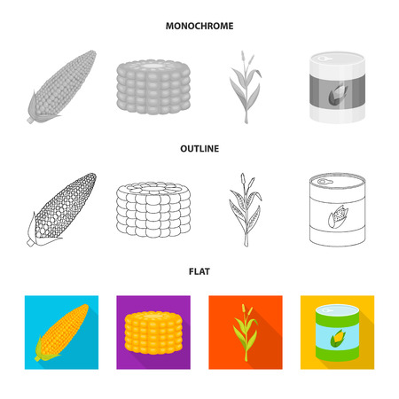 Isolated object of cornfield and vegetable icon. Set of cornfield and vegetarian vector icon for stock.