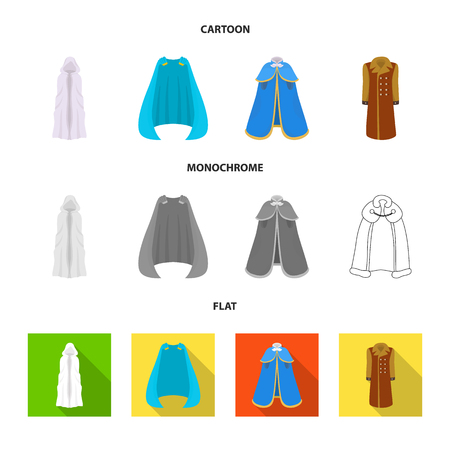 Vector illustration of material and clothing sign. Collection of material and garment vector icon for stock.