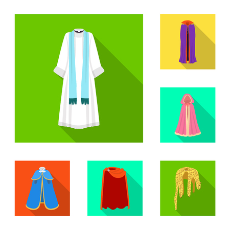 Vector design of material and clothing symbol. Set of material and garment stock vector illustration.