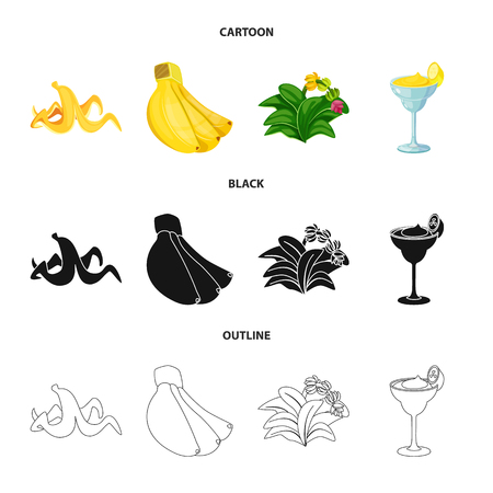 Vector design of natural and vegetarian sign. Collection of natural and eating vector icon for stock. Illustration