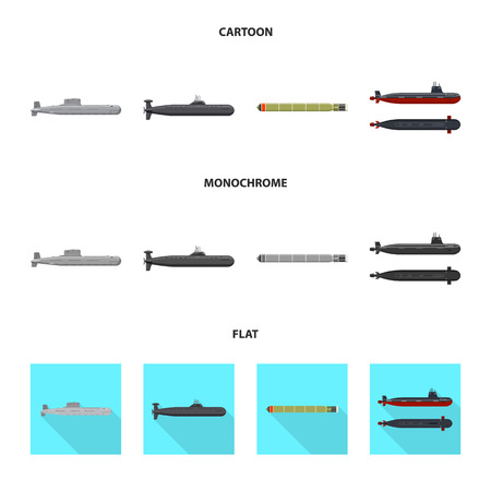 Vector design of war and ship icon. Collection of war and fleet stock symbol for web.