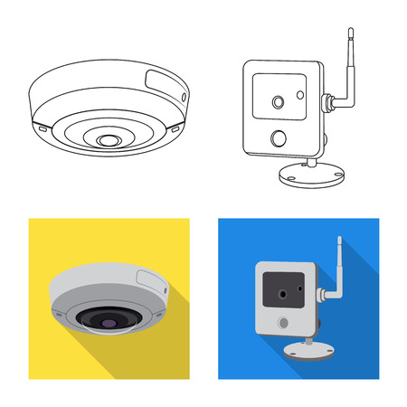 Vector design of cctv and camera symbol. Collection of cctv and system stock vector illustration. Ilustração