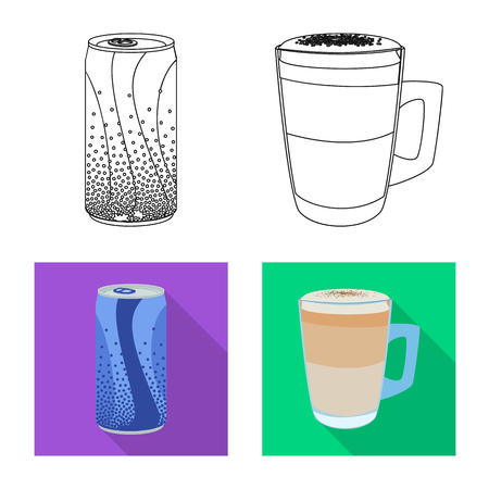 Vector illustration of drink and bar icon. Set of drink and party stock vector illustration. Vetores