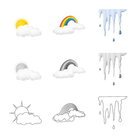 Vector design of weather and climate symbol. Set of weather and cloud stock symbol for web. 矢量图片