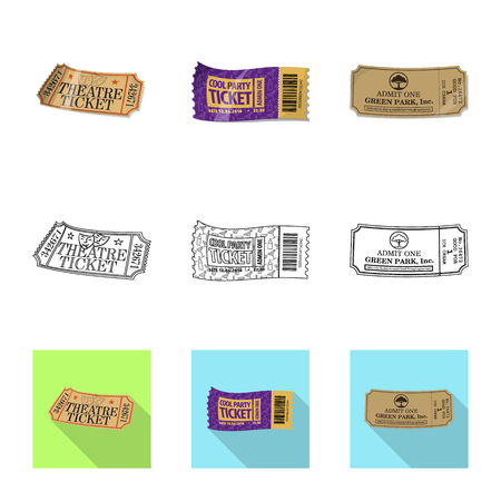 Vector design of ticket and admission icon. Set of ticket and event stock symbol for web. Illustration