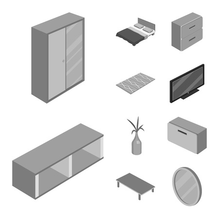 Isolated object of bedroom and room. Set of bedroom and furniture stock symbol for web. Illusztráció