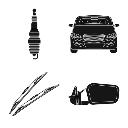 Vector design of auto and part symbol. Collection of auto and car vector icon for stock. Ilustração